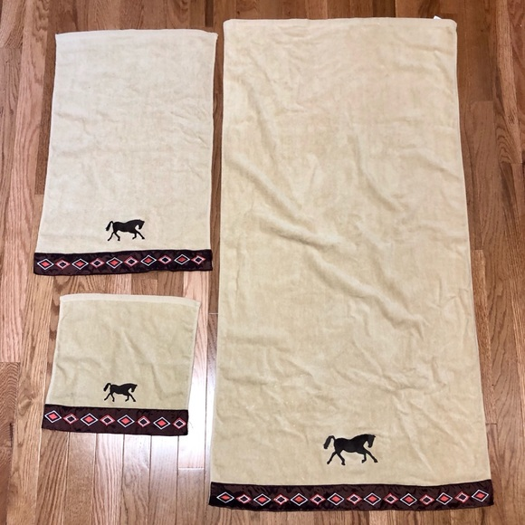 Handmade set of guest towels-horse southwest theme